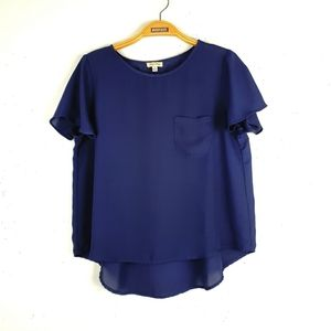 Lily White Navy Blue High Low Top